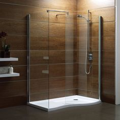 Get and apply best ideas by checking on doorless shower stall on photo gallery that shows about smallest bathroom shower stall decorating. Small Bathroom With Shower, Large Shower, Glass Shower, Small Bathrooms, Shower Bathroom, Shower Base, Wooden Bathroom, Bathroom Ideas, Bathroom Wall