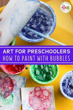 Looking for new art activities for kids? Bubble painting is a fun process art activity. Fine Motor Activities For Kids, Motor Skills Activities, Steam Activities, Color Activities, Literacy Activities, Bubble Painting, Bubble Art, Early Learning, Fun Learning