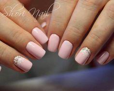 Festive nails, Half-moon nails ideas, Lacy nails, Medium nails, Nails ideas 2017, Original nails, Pale pink nails, ring finger nails