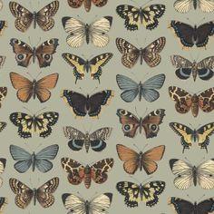 Kaleidoscope Wallpaper in Sage Green and Warm Vintage Browns