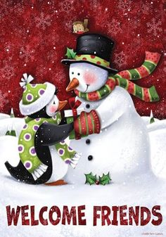 Amazon.com : Christmas Winter Welcome Friends Snowman Penguin Garden Flag