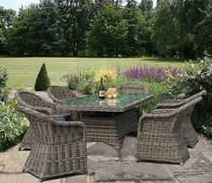 Wickerline Mayfair rattan furniture set with 6 Mayfair dining armchairs