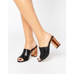 Park Lane Contrast Heel Leather Mule (€70) ❤ liked on Polyvore featuring shoes, black, leather slip-on shoes, black mule shoes, black shoes, open toe shoes and high heel shoes