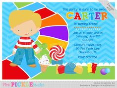 Candy Land Boy Personalized Party Invitation-personalized invitation, photo card, photo invitation, digital, party invitation, birthday, shower, announcement, printable, print, diy, candyland, sweets
