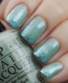 Mermaid's Tips -  For the base, apply 2 coats of OPI Thanks a WindMillion. Then using a foundation wedge, sponge Deborah Lippmann Mermaid's Dream on all nail tips, followed by a coat of Kiko 298 which gives an overall sparkling effect.