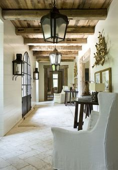 English Country Entry and Hall in Atlanta, GA by Suzanne Kasler Interiors