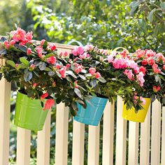 Make It Portable - Big container gardens make a big impact but can also take up a big amount of space.  Use smaller, portable containers (such as these hanging on a deck rail) to provide color where you need it most.