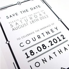 Art Deco wedding stationery collection – Save the Date - by Love Invited