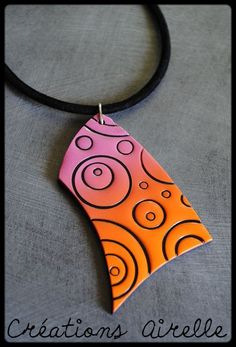 Color, shape, designed for fun! Polymer Clay Necklace, Polymer Clay Pendant, Fimo Clay, Polymer Clay Crafts, Ceramic Clay, Fused Glass Jewelry, Ceramic Jewelry, Air Dry Modeling Clay, Terracotta Jewellery Designs
