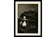 "LANVIN 1965 Black Cat Perfume Ad ""Provocative"", Vintage Collectible Print Advertising"