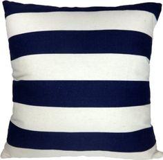 "Amazon.com: Decorative Printed Stripes Throw Pillow Cover 18"" Blue: Bedding & Bath"