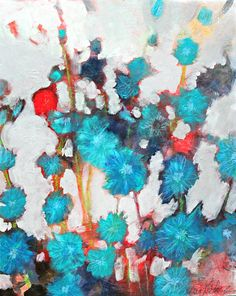 """Evening in the Chicory 16x20"""" abstract floral painting with blue flowers by Kerri Blackman"""