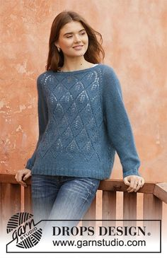 Blue spruce / DROPS - free knitting patterns by DROPS design, Knitted sweater with raglan in DROPS Alpaca and DROPS Kid-Silk. The piece is knitted with lace pattern from top to bottom. Sizes S - XXXL. Drops Design, Knitting Patterns Free, Free Knitting, Free Pattern, Blue Spruce, Crochet Woman, Knit Crochet, Drops Kid Silk, Crochet Design