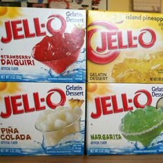 These make yummy jello shots with coconut rum, tequila and vodka!
