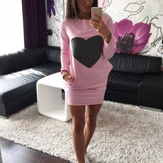 Fashion Heart Print Warm Cotton Bodycon Long Sleeve Dress //Price: $13.82 & FREE Shipping //     #style
