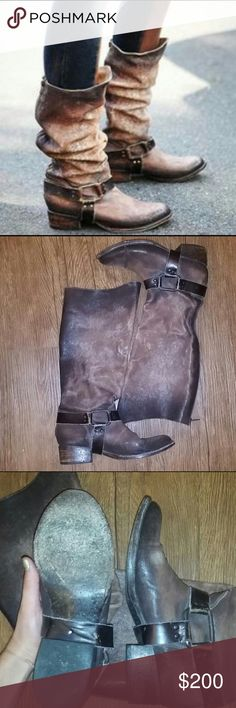 FREEBIRD BY STEVEN tall riding boots Genuine leather tall FreeBird riding boot in rustic. Only worn a few times. Great condition. They can be worn either scrunched down like the first picture or unscrunched like the second picture. The zipper runs along the back of the boot. These boots are FreeBird brand. Not Free People brand. Free People Shoes Heeled Boots