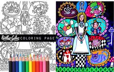By HeatherGallerArt at etsy.com ♡ Hey, I found this really awesome Etsy listing at https://www.etsy.com/listing/229710647/alice-in-wonderland-instant-coloring