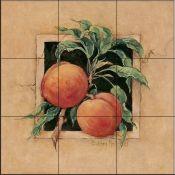 BM-Peach - Tile Mural Tumbled Marble Tile, Marble Tiles, Decorative Tile Backsplash, Kitchen Backsplash, Tile Murals, Wall Tiles, Fruit Picture, Fruits Images, Tile Projects