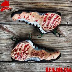 """Nike Air Foamposite One """"Freddy Krueger"""" Customs by Gourmet Kickz"""