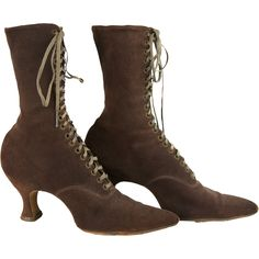 Antique Boots Edwardian or Titanic Era Boots in Luxurious Suede