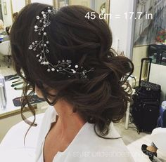 Bridal Crystal Pearl Hair Vine 45 cm, Wedding Pearl Crystal Hair Vine, Pearl Crystal Hair Vine, Bridal Hairpiece by StylishBrideAccs on Etsy