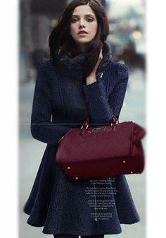 Dark Blue Plain Ruffle Inclined Zipper Wool Coat