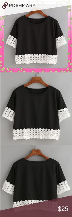 Crochet Trim Crop Top Cute Crochet Trim Crop Top.  Round neck with half sleeve.  Slips over head.  Color is black.  85% Polyester;  5% Spandex.  Fabric is stretchy. Tops Crop Tops
