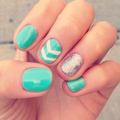 Mint green + accent nails