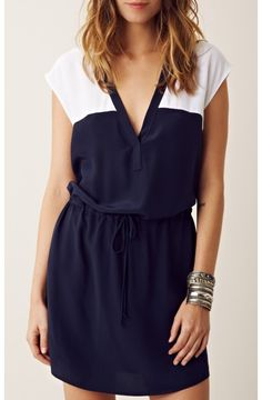 Navy and white dress