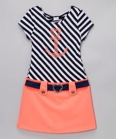 Love this Lilt Navy & Coral Dress - Girls by Lilt on #zulily! #zulilyfinds