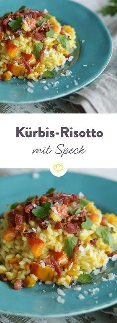 Der italienische Reisklassiker lässt sich wunderbar variieren und glänzt in dieser Kombination mit leckerem Kürbis, Lauch und Speck.