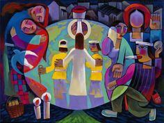 Journey with Jesus (He Qi).  On the right is the story of Jesus defending the woman caught in adultery; on the left is Ruth and Naomi.  The center depicts Jesus with two disciples on the road to Emmaus.  A powerful depiction of how Christ restores relationship.
