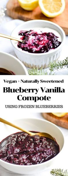 This Blueberry Vanilla Compote requires only 6 gluten-free and vegan ingredients and 20 minutes to make! Swirl it into yogurt, pour it onto ice cream or add it to an oatmeal bowl for a naturally sweetened fruity addition. #vegan #blueberryrecipes #compote #veganrecipes #veganbreakfast #vegandessert #easyveganrecipes #naturallysweetened