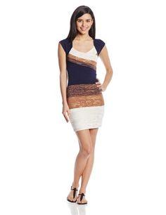 XOXO Women's Cap Sleeve Foil Print Dress, Navy