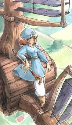 Nausicaa of the Valley of the Wind. Watercolor illustration by Hayao Miyazaki. Hayao Miyazaki, Studio Ghibli Films, Art Studio Ghibli, Totoro, Manga Art, Anime Art, Nausicaa, Howls Moving Castle, Animation