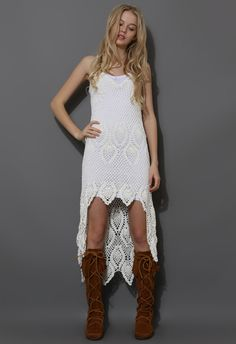 Santorini Hand-knit Crochet Dress in Off-White - Party - Dress - Retro, Indie and Unique Fashion