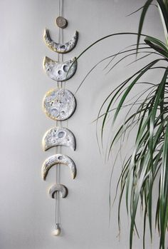 Lunar Decor Moon Phases Wall Hanging Moon Phase Garland Moon Wall Hanging Gold Moon Decor Crystal Wall Decor Gold Moon Cycle Raw Citrine – DIY Pottery – New Epoxy Diy Clay, Clay Crafts, Felt Crafts, Moon Decor, Deco Nature, Crystal Wall, Crystal Decor, Clay Projects, Ceramics Projects