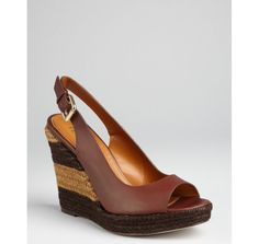 Fendi brown leather peep toe striped wedge slingback espadrilles