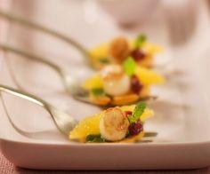 Rezept: Jakobsmuschel mit Granatapfel und Süßkartoffeln