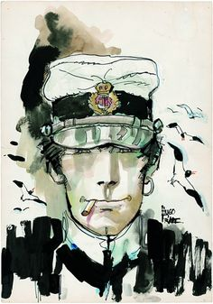 The Pinacothèque de Paris is showing an exhibition of works by Italian comic book creator Hugo Pratt. Including water colors of his most famous character; a complex sailor named Corto Maltese. Maltese, Illustrations, Illustration Art, Paolo Conte, Hugo Pratt, Bd Art, Book Creator, Bd Comics, Guache