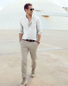neutral tones...J.Crew Irish linen shirt.