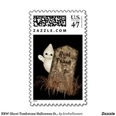 KRW Ghost Tombstone Halloween Stamp