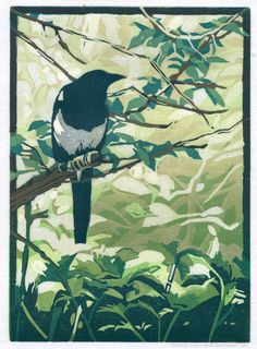 Linocut-Lurking-magpie-@SherrieYork