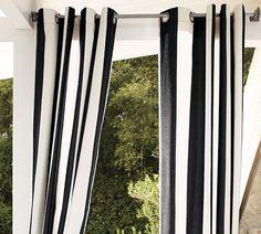 cortinas para el jardín a rayas en blanco y negro