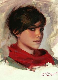 """Red Scarf"" - Casey Baugh (American, b. 1984), oil on canvas {contemporary figurative realism art beautiful female head woman face portrait painting #loveart} caseybaughfineart.com"