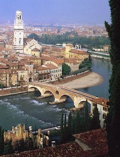 verona, italy | ... River at Verona, Italy, with the Romanesque-Gothic cathedral at left