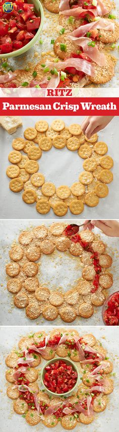 Ring in the holiday season with a RITZ Parmesan Crisp Wreath. Overlap RITZ Crackers in the shape of a wreath. Sprinkle them with parmesan and bake. Top with bruschetta and prosciutto and enjoy your tasty decor!