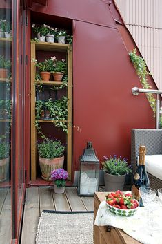 Urban garden / vertical garden http://www.home-designing.com/wp-content/uploads/2013/04/e-Urban-Apartment-with-Terrrace-terrace-with-shelved-pot-plants-and-outdoor-lounge.jpg