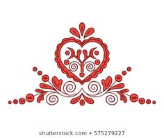 Slovak Traditional Floral Ornament Isolated On Stock Vector (Royalty Free) 575279227 Folk Embroidery, Embroidery Patterns, Cross Stitch Patterns, Lino Art, Scandinavian Folk Art, Stencil Diy, Stone Painting, Pattern Art, Vector Art