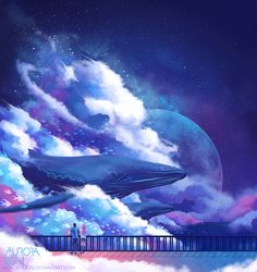 "auroralion: ""inspired by Tom Days - Dreams More of a personal piece with the meaning and atmosphere. The whales and fish return to the sea, waking up from the dream to return to reality~ Print..."